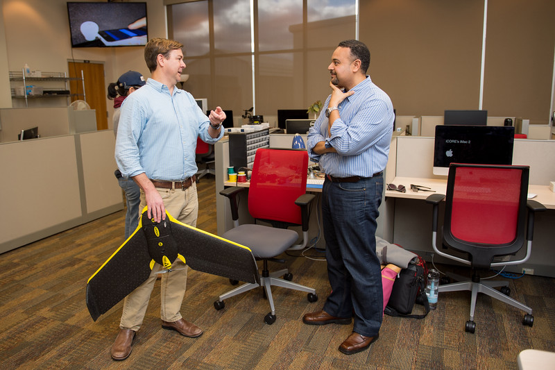 Dr. Michael J. Starek(left) and Dr. Mahdy Ahmed speak about the latest UAS technology and research on the TAMUCC campus.