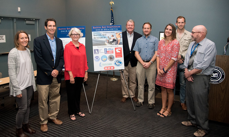 Baffin Bay Symposium speakers Rae Mooney(left), Jace Tunnell, Ms. Holly Greening, Dr. Larry Mckinney, Dr. Mike Wetz, Dr. Jenni Pollack, Zach Olsen, Mark Mckay