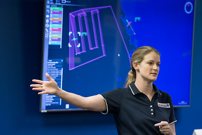 Melanie Willis leads a tour in the Lone Star UAS Command Center, during the Drone Expo. Saturday March 04, 2017.