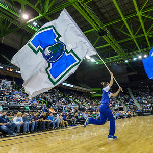 Student shows school spirit during the Men's Basketball Game.