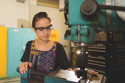 Clarissa Tores works on her project in the engineering lab.