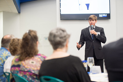 Derek Drozd speaks to the panel during the Islander Venture Fund pitch at the Coastal Bend Business Innovation Center.