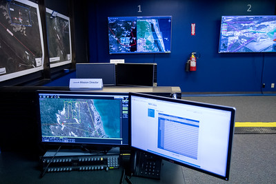 Computer monitors showing radar and footage from previous UAV test flights from the Lone Star UAS mission control center. Saturday March 04, 2017.