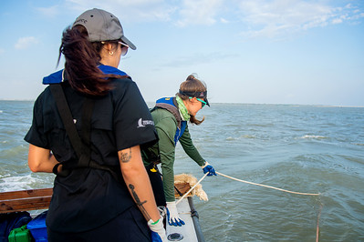 Danielle Zimmermann makes sure the ropes do not get tangled as they dredge at the Aransas Bay sampling station.