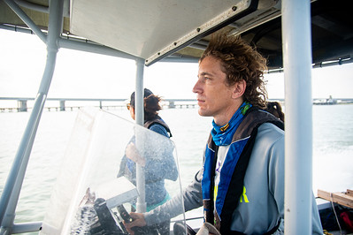 HRI Senior Research Associate, Terry Palmer navigates through Copano Bay to the oyster collection site in Aransas Bay.