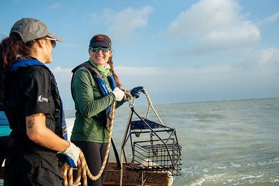 Danielle Zimmermann prepares to drop an oyster dredge at the Aransas Bay sampling station.