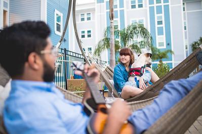 Zain Khan and Jayde Harris relax pool side at Momentum Village.