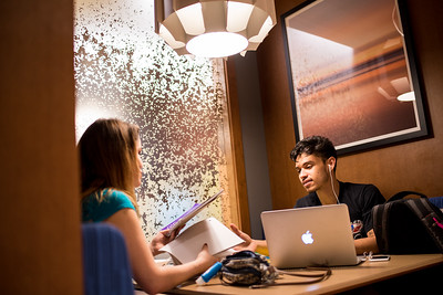 Raven Martinez (left), and Franklin Campos study in tandem as they study for a Biology exam in the Momentum Village club house.