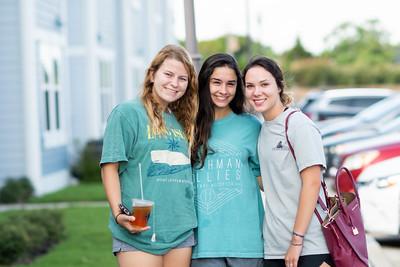 Students Amanda Bondy (left), Audrey Terrell, and Jazmine Smith