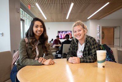 Students Vanessa Gallardo (left), and Kaila Fianagan hang out in the Tejas Lounge on the first day of the Spring 2019 Semester.