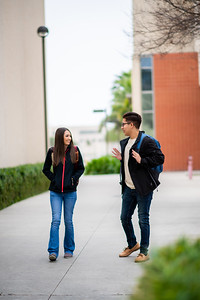 Madeline Zambrano (left), and Jonathan Flores make their way between classes on the first day of the Spring 2019 Semester.