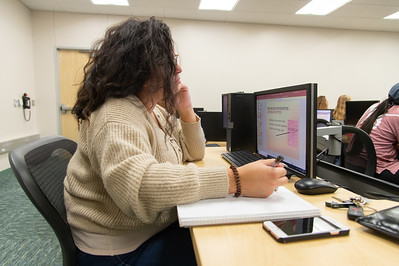 Madeline Hernandez is working on her Biomechanics work during the first week of school.