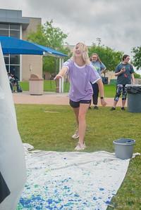 Lauren Stracener relieves stress on East Lawn.