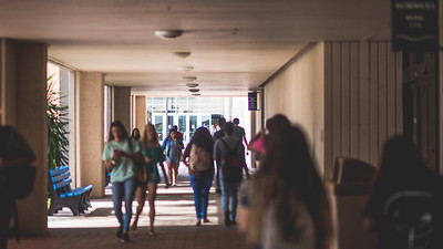 Students make their way through the breezeway during the first day of fall semester.