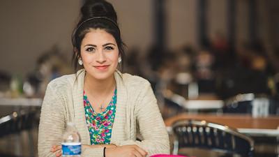 Samantha Cervantes studies for her fundamental Nursing Final in Island Hall.
