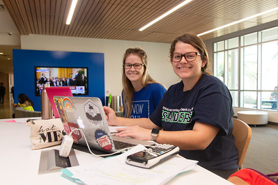 Baylee Helwick (left) and Michelle Evans work on their Chemistry assignments at the University Center.
