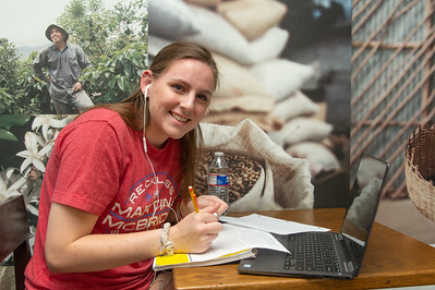 Elizabeth Kiley works on her History After assignments at the Starbucks on campus.