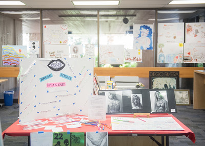 "Check out the ""Inspire an Islander"" interactive art exhibit is up in the Mary and Jeff Bell Library now through Wednesday, November 22."