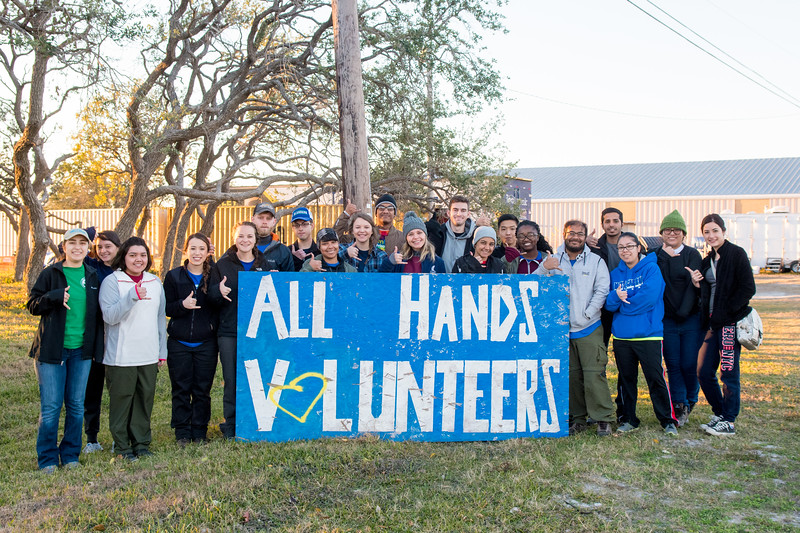 Students who volunteered for the Alternative Winter Break helped with hurricane relief from Hurricane Harvey in Aransas Pass.