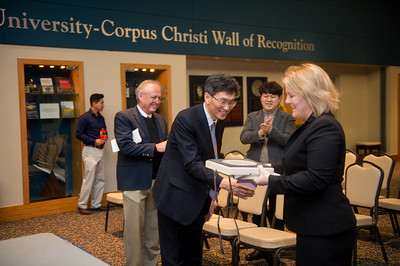 Mr. Heonsoo Kim, Principal of Sejong Academy (left) and Dr. Kelly M. Quintanilla, president and CEO of Texas A&M University-Corpus Christi.
