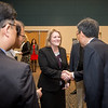 Kelly M. Quintanilla, president and CEO of Texas A&M University-Corpus Christi greets Mr. Heonsoo Kim, principal of the Sejong Academy. Tuesday January 30, 2018 during the MOU Signing in Legacy Hall.