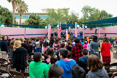 Islanders gather in the Hector P. Garcia Plaza to honor those who have served during a special Veterans Day Celebration.