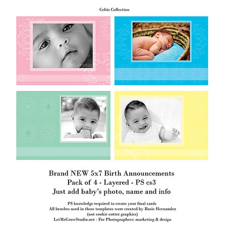 Birth Announcements: Celtic Collection - Templates for sale
