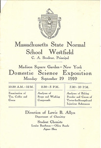 Program from the Domestic Science Exposition Madison Square Garden, New York City 1910