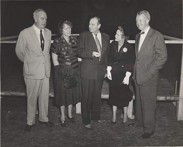 Groundbreaking Ceremony Western Avenue Campus October 13,1954  Patrick Sullivan, Department of Education; Mrs. Helen Cowing, president of the college Alumni Association; Representative Anthony Parenzo; Julia Fuller, English Department; and former Mayor, clarence E. Fuller