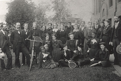 Euphoria Student outing club 1886.  Lewis Allyn is in the middle of the back row in the turtle neck sweater.