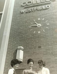 Clock on the front of Parenzo Hall Gift of the class of 1961.  •The Parenzo Hall clock was a graduation gift from the class of 1961. •Students could readily view the clock to get back to their dorms before curfew and get to classes on time. •Ina Skolnick, class vice president, was the gift drive coordinator, along with the other class officers Tom Shaughnessy, president; Lois (Anderson) Liddel, secretary; and Charlotte (Meara) Boudreau, treasurer.