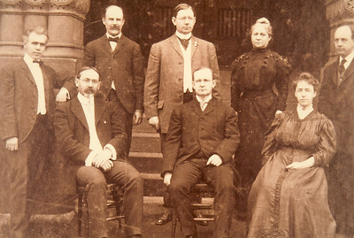 Faculty, Westfield Normal School 1907   Standing: L.B. Allyn, C.B. Wilson, Frederic Goodwin, Mrs. A.A. Knight, G.T. Sperry   Sitting: Will S. Monroe, Principal C.A. Brodeur, Miss Edith L. Cummings
