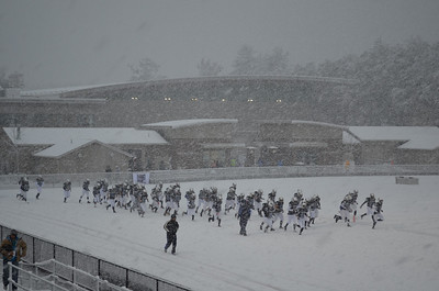 stand alone Alumni Weekend photo:  The Westfield State University football team braved the historic snowstorm during Alumni Weekend on Oct. 29, 2011, and posted an 11-0 victory over Massachusetts Maritime Academy.