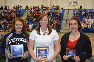 Fall sports review story:  Westfield State University women's volleyball all-conference players during the 2011 fall semester were, left to right: Kerin DeGirolamo, Alex Shaw and Julia Warner.