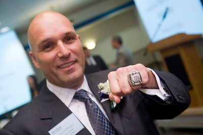 Stand alone photo: Hall of Fame/Alumni Weekend:  Don DelNegro ('84) displays the Stanley Cup championship ring he received as the head athletic trainer for the Boston Bruins. DelNegro was inducted into the Westfield State Athletics Hall of Fame on Oct. 28, 2012.