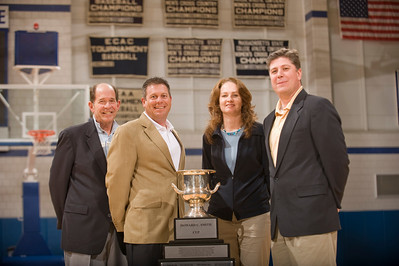 L-R: President Evan Dobelle, AD Dick Lenfest, Assistant AD Nancy Bals, VP Student Affairs Barry Maloney pose with the Smith Cup.