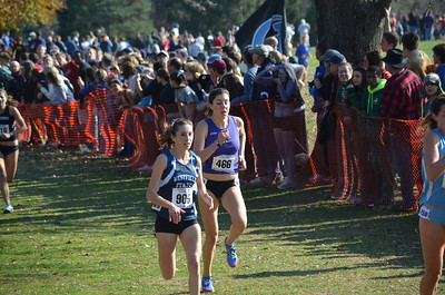 Photo for fall sports roundup story:  Westfield State sophomore Amy Trainque earned All-New England by placing 26th in the NCAA Regional cross country championships at Stanley Park.