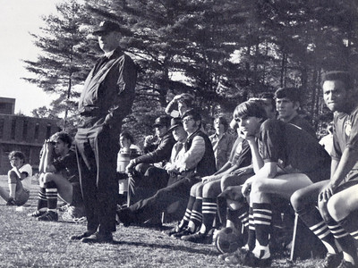 JOHN KURTY PHOTO:  Coach John Kurty patrols the sidelines during a home game in 1970.