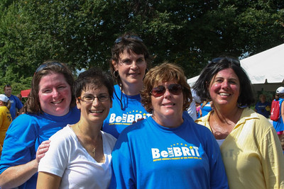 Standing in back is Virginia Ellsworth Easton '88. In front of her, from left to right, are: Maureen Owen Wark '85, Kim Rodrigues Pressey '88, Linda Foley Hallamore '88 and Cherylann Gengel at the Be Like Brit Walk.
