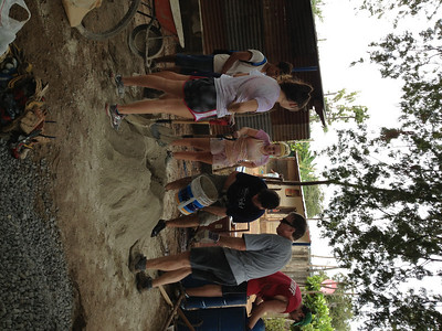 Making cement in Nicaragua. Olivia Sheedy, (not sure of person next to her), our Nicaraguan assistant, Donald...Deryn Copeland, John Bartel and Peter Kitchen (volunteer from England who worked with our group)