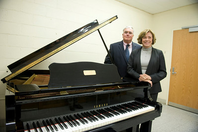Bing Carey and his wife Eileen talk with Westfield State University Music Department professor Andrew Bonacci
