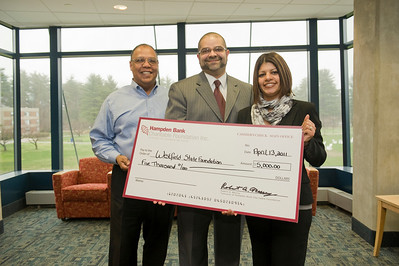 Hampden Bank presents $5000 check to WSU Foundation for the Urban Education Program.