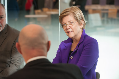 Senator Elizabeth Warren visits Westfield State University to talk to local officials and discuss federal legislation to reduce college student debt.