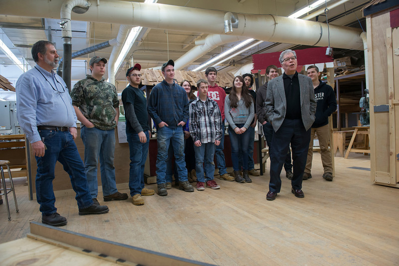 Students from the Construction Class at Westfield Vocational-Technical School build the sets for Fiddler on the Roof, which will be held at Dever Statge at Westfield State University