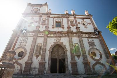 Mexico. San Ignacio. Mission San Ignacio Church. Outside image of church.