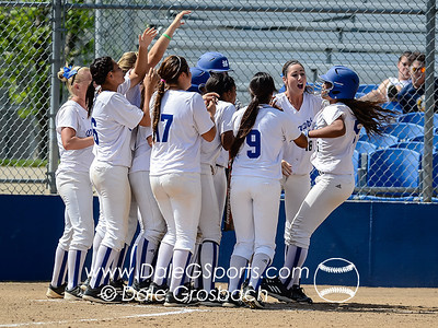 Image #0856  May 13, 2013; Heritage Park, St. Joseph, MO; California State University San Marcos (CA) Cougars vs. Dickinson State University (ND) Blue Hawks.  Game 2, Park Bracket, 2013 NAIA Softball National Championship Opening Round  Cal State San Marcos 3B Tani Leasau and her teammates celebrate her 2 run Home Run in the third inning  Mandatory Credit: Dale Grosbach-Dale G Sports