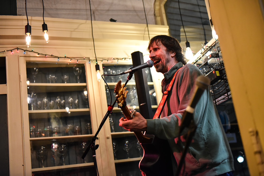 . (02/19/18 AYER MA) Jim Schaff of Groton sings in front of a live audience at Markoh\'s On Main in Ayer.  Jim is the organizer of an open mic session held every Tuesday night at Markoh\'s On Main in Ayer. SENTINEL & ENTERPRISE JEFF PORTER