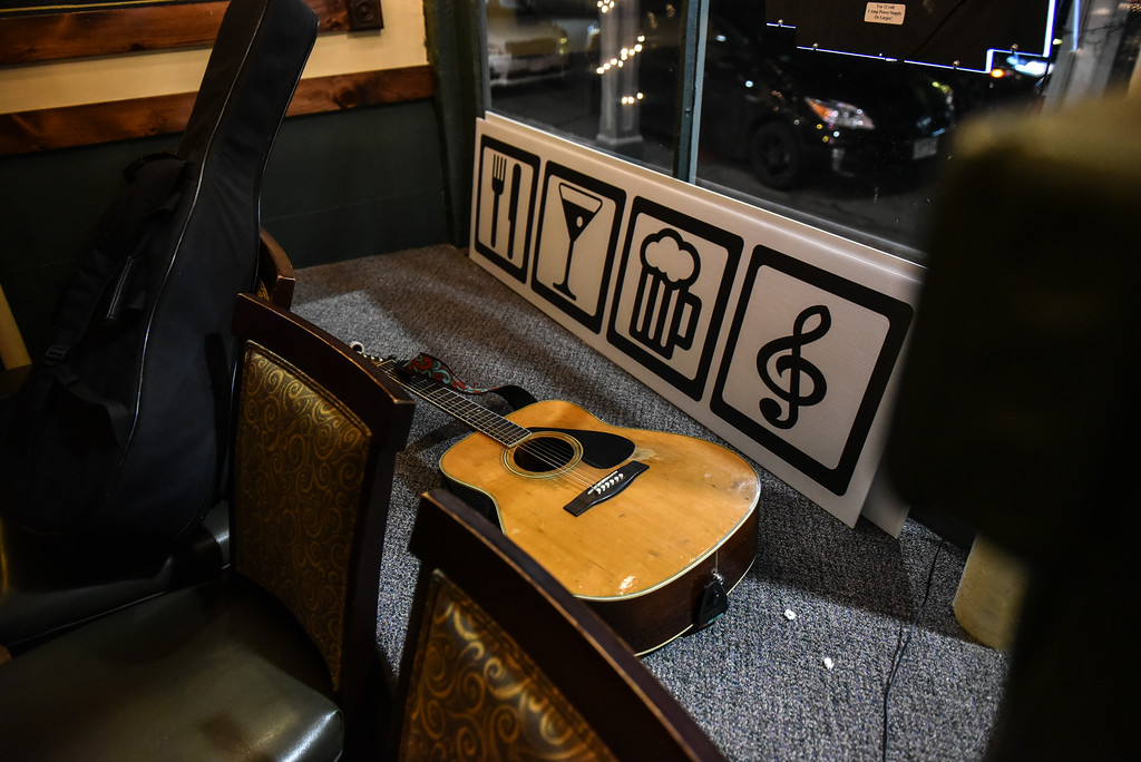. (02/19/18 AYER MA) Guitars are left in an adjacent room as open mic goers wait their turn to perform at Markoh\'s On Main in Ayer on Tuesday night.  SENTINEL & ENTERPRISE JEFF PORTER