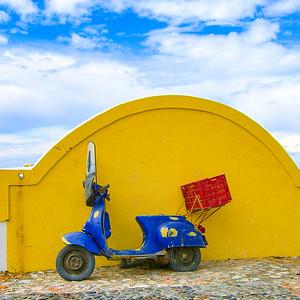 a motor scooter on Santorini