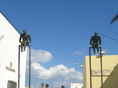 Statues on the town square of Fira, Santorini